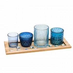 Set suport Pufo pentru lumanare cu 4 pahare, albastre