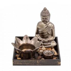 Set suport Pufo pentru lumanare si bete parfumate cu statueta Buddha