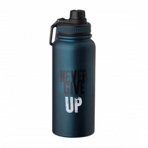 Sticla termos metalica Never give up pentru bauturi, izoterm, 950 ml, Pufo