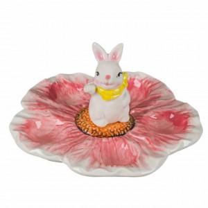 Suport decorativ ceramica pentru 5 oua, model Iepurasul vesel, 16 cm