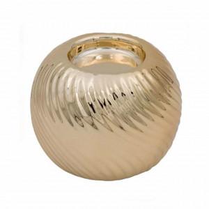 Suport decorativ elegant din portelan pentru lumanare Pufo Gold, 7,5 cm
