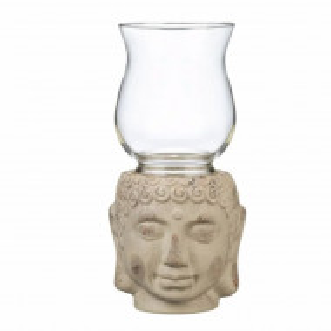 Suport lumanare din ceramica si sticla Pufo Feng Shui, model Buddha, 30 cm