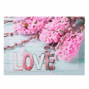 Tablou decorativ canvas cu zambile roz, model Love pinky, 35 cm, Pufo