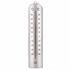 Termometru de perete pentru exterior, 27 cm, argintiu