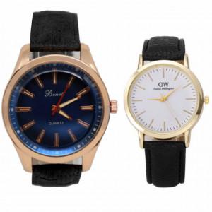 Pachet ceas barbatesc elegant Benett auriu, curea neagra + ceas elegant de dama slim, model clasic, curea neagra
