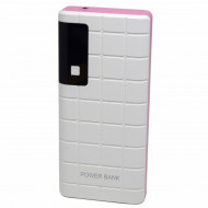 Acumulator extern 20000 mAh, 3 porturi USB, LED, lanterna, alb cu roz