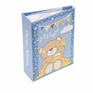 Album foto pentru copii, model Ursuletul adormit, albastru, 13 x 17cm, Pufo