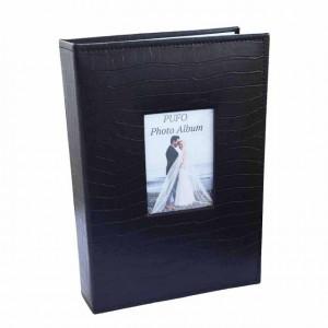 Album foto Pufo 32 x 21 cm , coperta neagra, design tip piele de crocodil, 300 poze