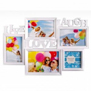 Cadru rama foto Pufo Live, Love, Laugh, model cu 5 poze, alb, 45 cm