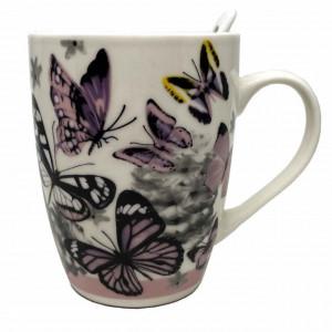 Cana ceramica pentru cafea sau ceai cu lingurita, model Purple Butterfly, 11 cm