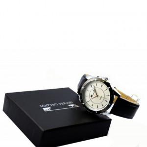 Ceas barbatesc elegant Matteo Ferari, design italian, cadran alb, curea neagra, cutie inclusa