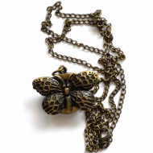 Ceas de buzunar cu lant Little Butterfly, model vintage