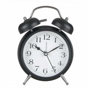 Ceas de masa desteptator Pufo Gladd, metalic, 15 cm, negru