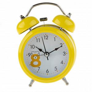 Ceas de masa desteptator Pufo Joy cu buton de iluminare cadran, metalic, 15 cm, galben