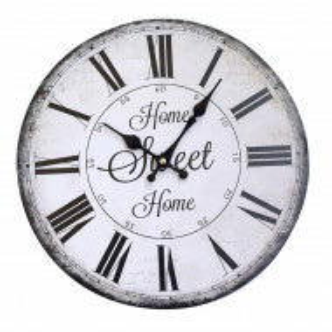 Ceas de perete Pufo Home Sweet Home, model vintage, 34 cm