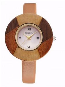 Ceas elegant de dama Rebirth, cadran lemn, model deosebit, maro deschis