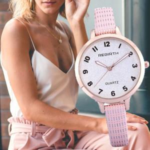 Ceas elegant de dama REBIRTH + cutie inclusa, curea roz