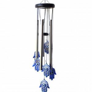 Clopotel de vant cu 5 tuburi sonore metalice pentru casa sau gradina, model Mana lui Fatima