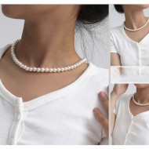 Colier de dama scurt la baza gatului cu perle mici albe, acrilice, clasic, Pufo