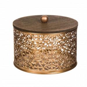 Cutie bomboniera metalica decorativa Pufo cu capac, auriu