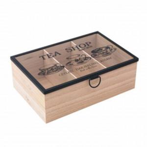 Cutie din lemn cu compartimente pentru depozitarea ceaiurilor, 24 x 16 cm