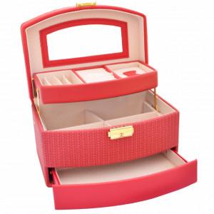 Cutie eleganta de dama Pufo Elegance pentru depozitare si organizare bijuterii si accesorii, model etajat, rosu