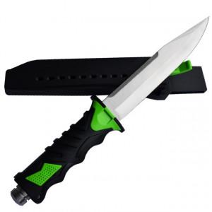 Cutit baioneta 34 cm, teaca material pvc, negru + verde