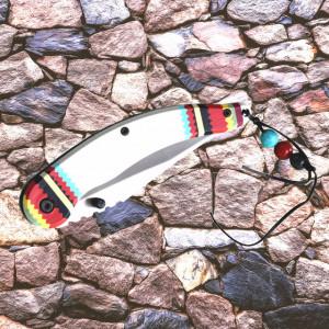 Cutit briceag de buzunar 22 cm, design deosebit cu maner pictat, alb
