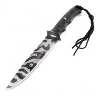Cutit de vanatoare 32 cm Full Tang, model Black Legion Style, maner ergonomic, teaca inclusa