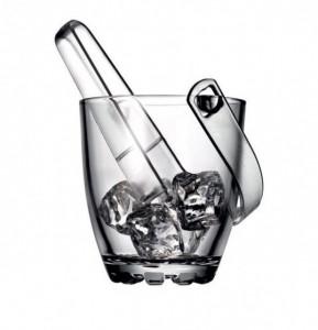 Frapiera din sticla pentru cuburi de gheata, cu cleste inclus, 13 cm, transparent
