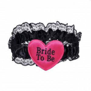 Jartiera mireasa Bride to be roz cu dantela neagra, Pufo