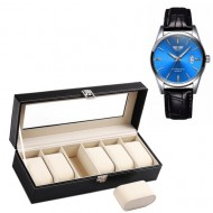 Pachet caseta eleganta organizare si depozitare ceasuri cu 6 compartimente + ceas barbatesc clasic,elegant , model SLIM SUITS STYLE, cadran albastru