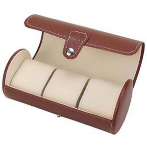 Pachet cutie caseta depozitare si transport din piele ecologica pentru 3 ceasuri + 1 ceas barbatesc elegant DEEP RED, cifre romane, curea maro, Pufo