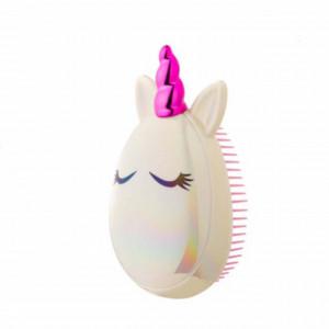 Perie de par Little Unicorn pentru fetite, roz cu alb, 12 cm