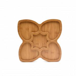 Platou din lemn pentru servire cu 5 compartimente, 24 cm