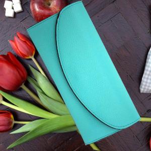 Portofel elegant de dama cu suport detasabil de bancnote si carduri, verde turcoaz