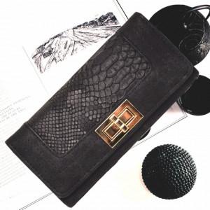 Portofel elegant de dama negru cu imprimeu tip crocodil