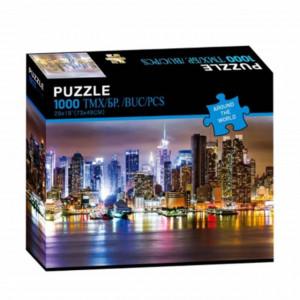 Puzzle modern cu zgarie-nori in noaptea luminata din New York, 1000 piese, model Premium