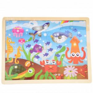 Puzzle Pufo din lemn pentru copii, 24 piese, 40 x 30 cm, model Lumea acvatica