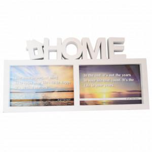 Rama foto decorativa cu 2 poze, model Pufo Home, 32 x 17 cm, alb