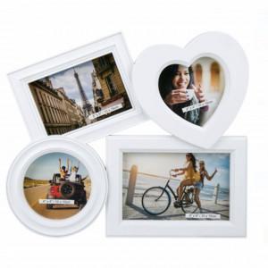 Rama foto decorativa cu 4 poze, model Pufo Love, 30 cm, alb