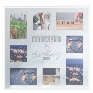 Rama foto decorativa Pufo din sticla, model Follow your Hearth, 8 poze, 45 x 45 cm