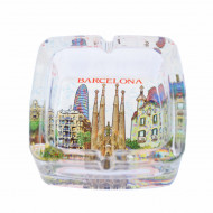 Scrumiera Pufo din sticla, model Sagrada Familia, 9,5 cm