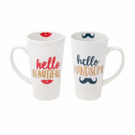 Set 2 cani ceramica Hello Beautiful&Handsome, 475 ml, Pufo