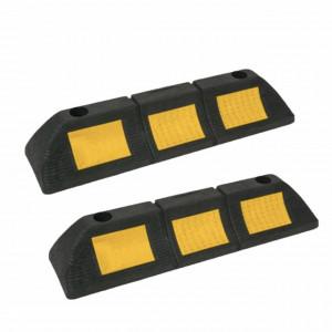 Set 2 piedici blocare roata pentru parcare auto cu suprafata reflectorizanta, stop opritor de 48 cm