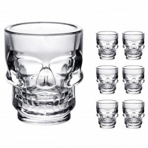 Set 6 pahare din sticla pentru shoturi, forma de craniu, 50 ml, Pufo