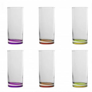 Set 6 pahare pentru apa, suc, racoritoare cu fund colorat, sticla, 270 ml, Pufo