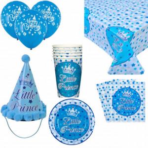 Set accesorii pentru petrecere si zi de nastere Little Prince, albastru cu alb, Pufo
