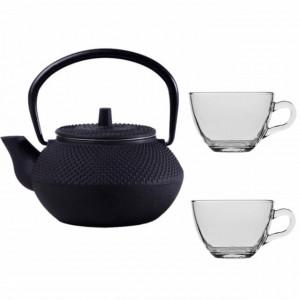 Set ceainic Pufo din fonta cu infuzor, 600 ml, negru + 2 cani Pufo transparente din sticla pentru ceai sau cafea, 190 ml