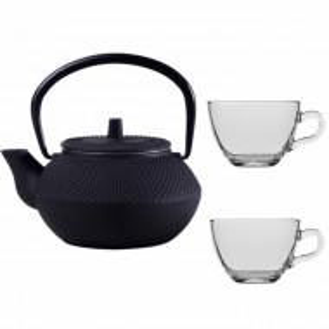 Set ceainic Pufo din fonta cu infuzor, 600 ml, negru si 2 cani transparente din sticla